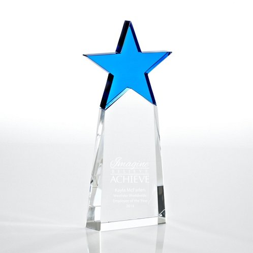 Cobalt Star Pinnacle Crystal Trophy
